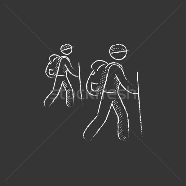 туристических туристов мелом икона рисованной Сток-фото © RAStudio