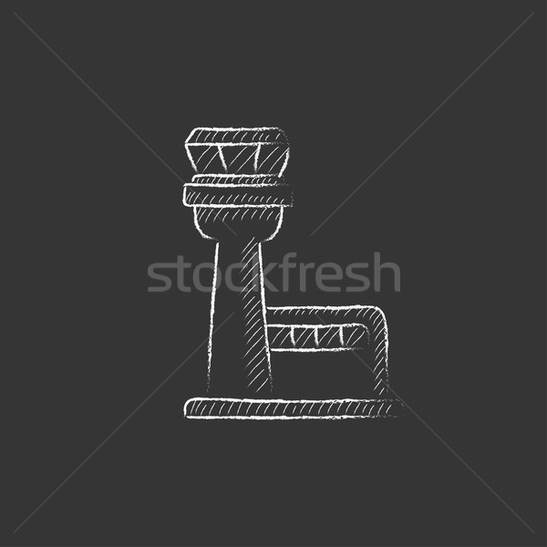 Stock photo: Flight control tower. Drawn in chalk icon.