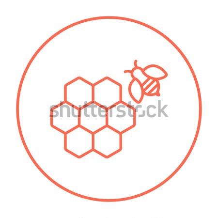 Foto stock: Favo · de · mel · abelha · linha · ícone · teia