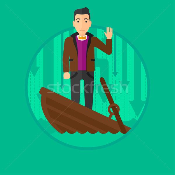 Businessman standing in sinking boat. Stock photo © RAStudio