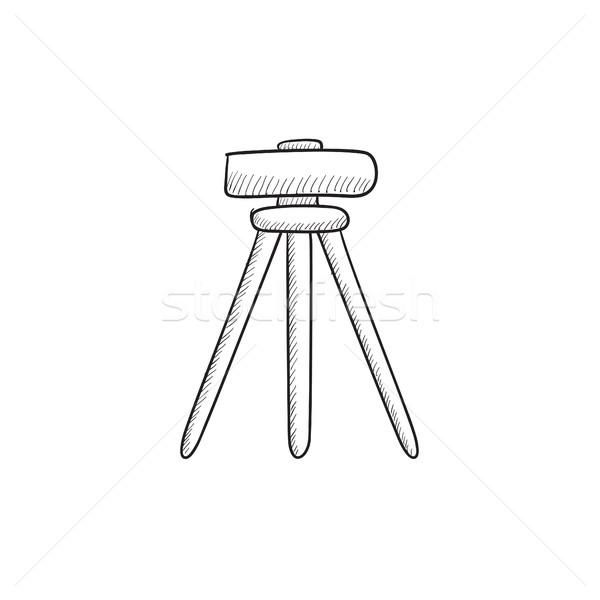 Theodolite on tripod sketch icon. Stock photo © RAStudio