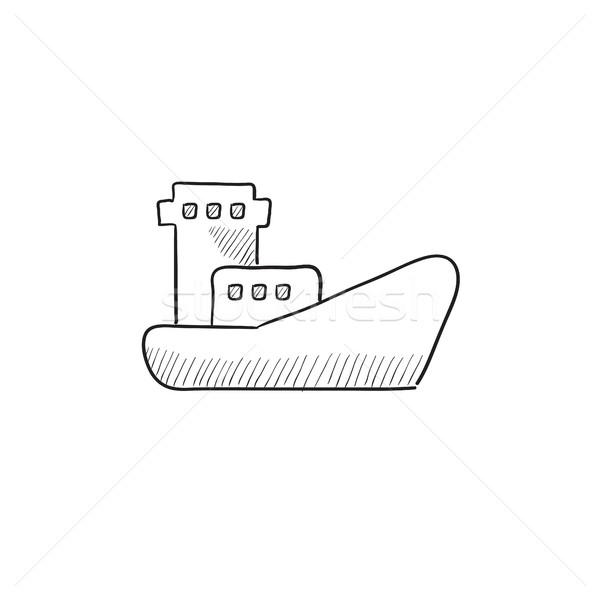 Stockfoto: Vracht · containerschip · schets · icon · vector · geïsoleerd