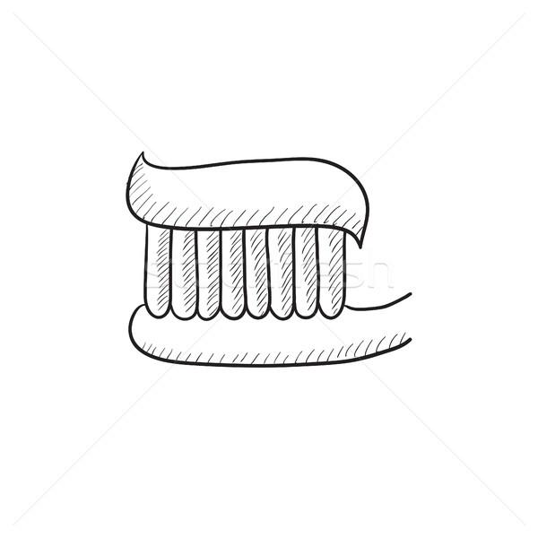 Escova de dentes creme dental esboço ícone vetor isolado Foto stock © RAStudio