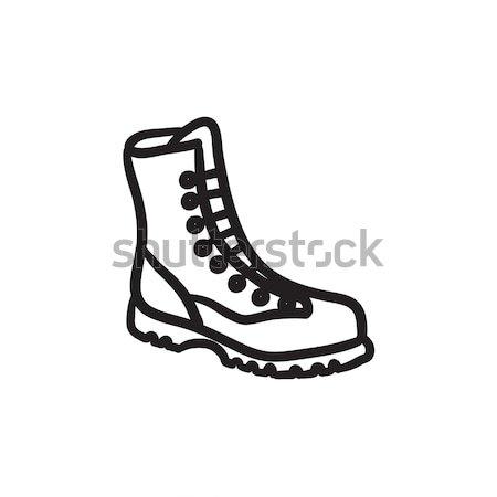 Boot with laces sketch icon. Stock photo © RAStudio