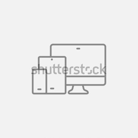 Duyarlı web tasarım kroki ikon vektör yalıtılmış Stok fotoğraf © RAStudio