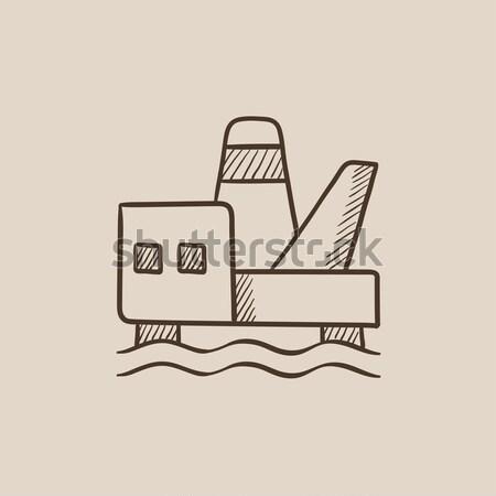 Offshore olaj vágány rajz ikon vektor Stock fotó © RAStudio