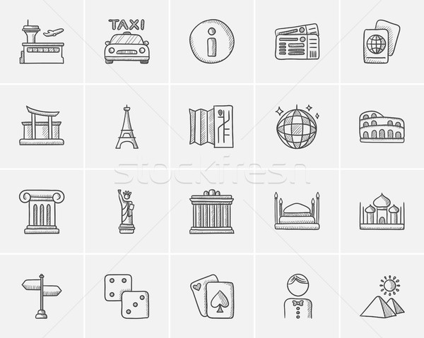 Stock photo: Travel and holiday sketch icon set.