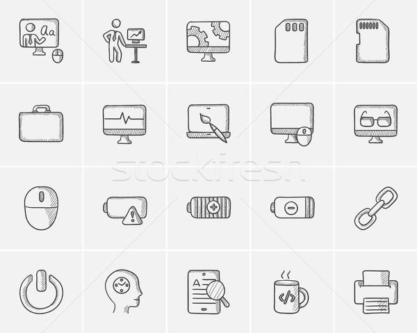 Stock fotó: Technológia · rajz · ikon · gyűjtemény · háló · mobil · infografika