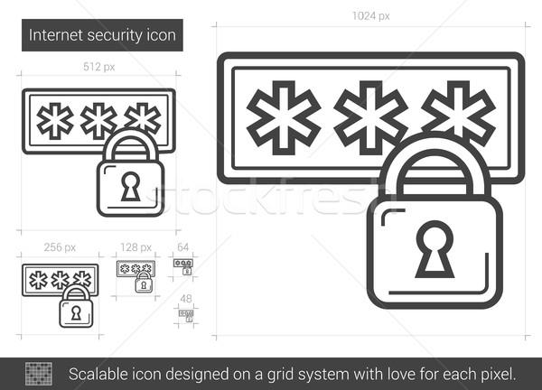 Internet veiligheid lijn icon vector geïsoleerd Stockfoto © RAStudio