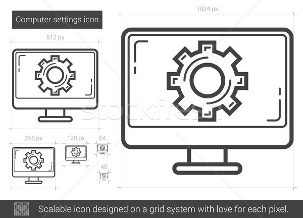 Számítógép beállítások vonal ikon vektor izolált Stock fotó © RAStudio