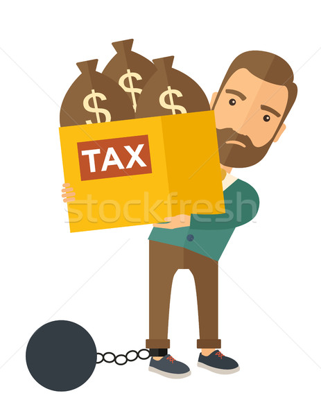 Businessman locked in a debt ball and chain. Stock photo © RAStudio