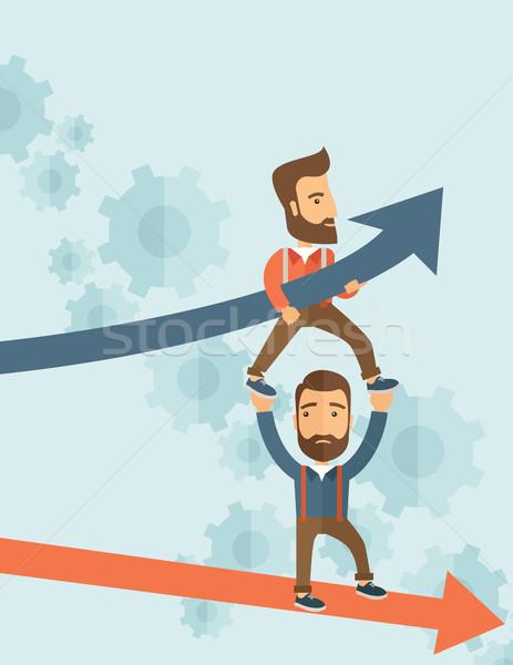 Blu crescita di successo grafico di affari imprenditori due Foto d'archivio © RAStudio