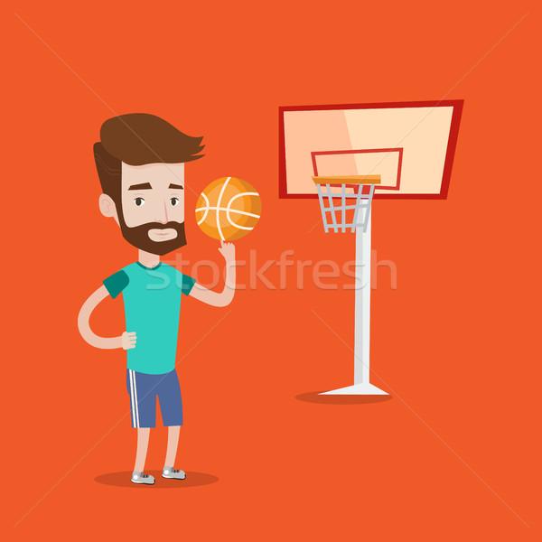 Hipszter kosárlabdázó labda férfi szakáll kosárlabda Stock fotó © RAStudio