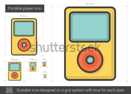 Hordozható játékos vonal ikon vektor izolált Stock fotó © RAStudio