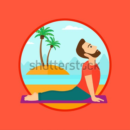 Stockfoto: Man · oefenen · yoga · hond · pose · strand
