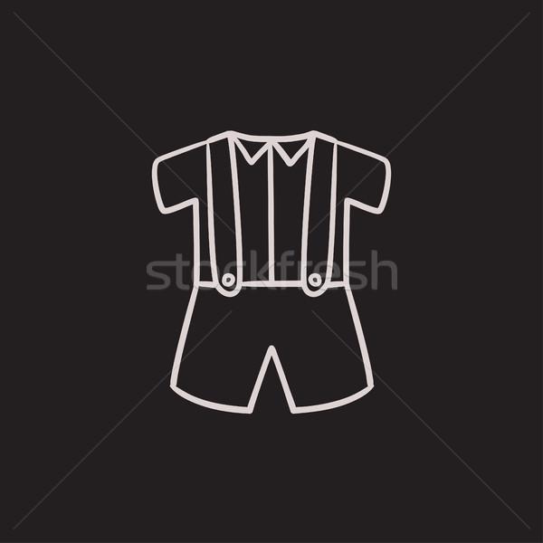 Baby shirt shorts bretels schets icon Stockfoto © RAStudio