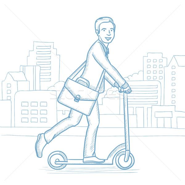Férfi lovaglás rúgás moped figyelmeztetés boldog Stock fotó © RAStudio