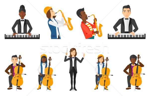 Vector set of musicians people characters. Stock photo © RAStudio