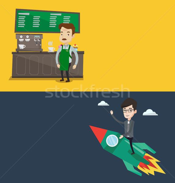 ストックフォト: 2 · ビジネス · バナー · スペース · 文字 · ベクトル