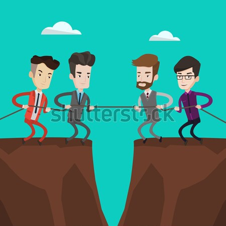Two groups of business people pulling rope. Stock photo © RAStudio