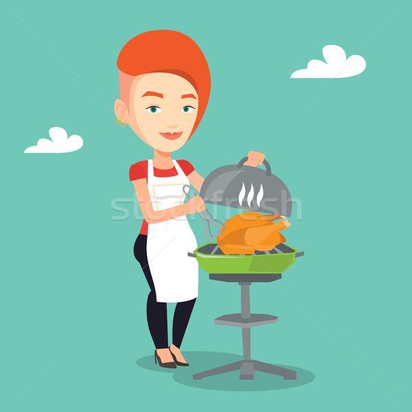 女性 料理 鶏 バーベキューグリル 白人 屋外 ストックフォト © RAStudio