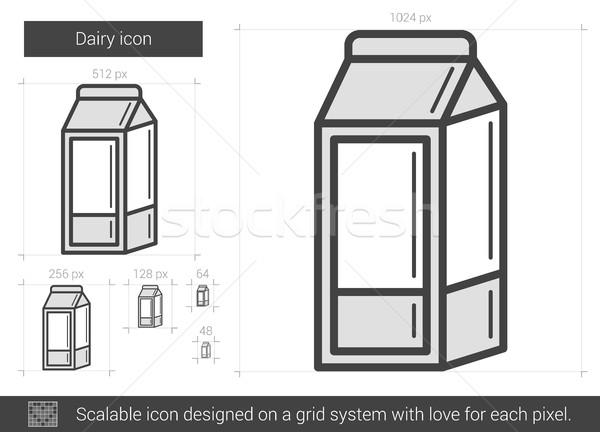 Stockfoto: Zuivelfabriek · lijn · icon · vector · geïsoleerd · witte