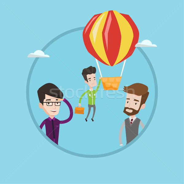 Businessman hanging on balloon vector illustration Stock photo © RAStudio