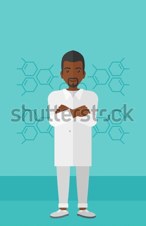 African confused chef cook with spread arms. Stock photo © RAStudio