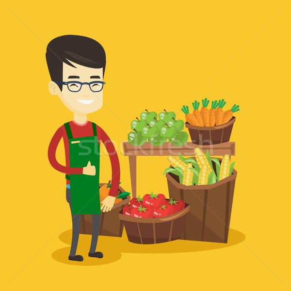 Friendly supermarket worker vector illustration. Stock photo © RAStudio