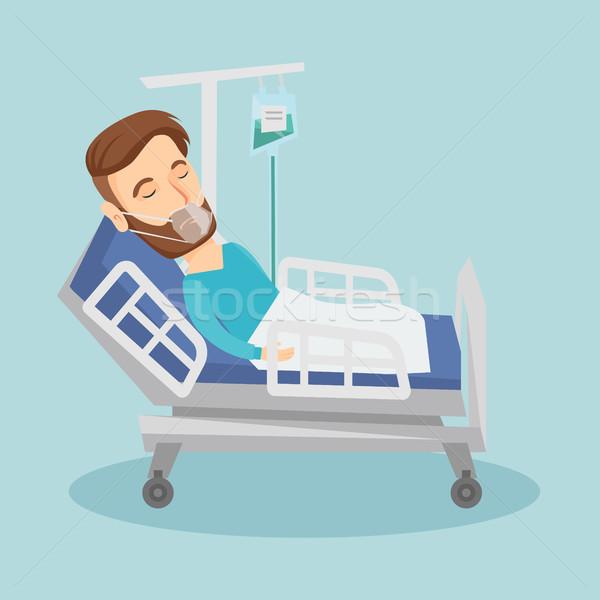 Paciente máscara de oxigeno caucásico hombre Foto stock © RAStudio