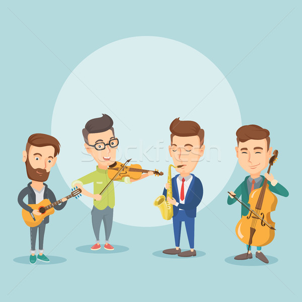 Band of musicians playing on musical instruments. Stock photo © RAStudio