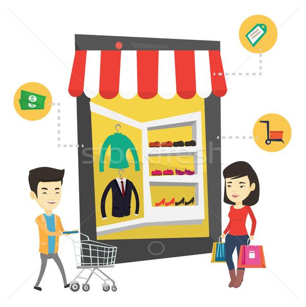 ázsiai emberek vásárlás online fiatal online vásárlás Stock fotó © RAStudio
