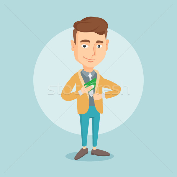 Business man putting money bribe in pocket. Stock photo © RAStudio