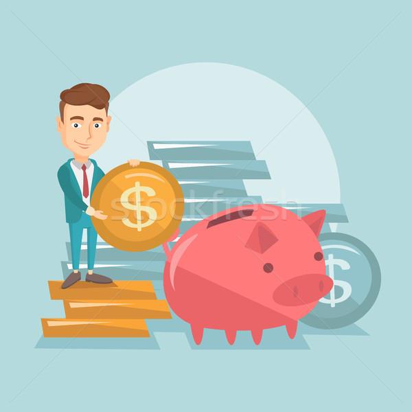 деловой человек монеты Piggy Bank улыбаясь деньги большой Сток-фото © RAStudio
