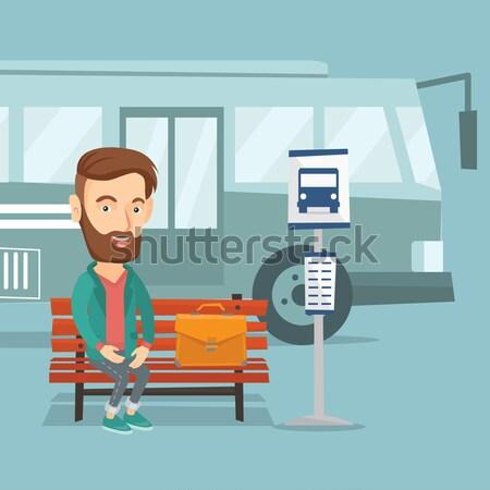 Business woman czeka przystanek autobusowy teczki kobieta interesu posiedzenia Zdjęcia stock © RAStudio