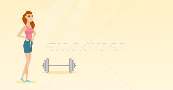 Nő mér derék csípővonal szalag mérőszalag Stock fotó © RAStudio