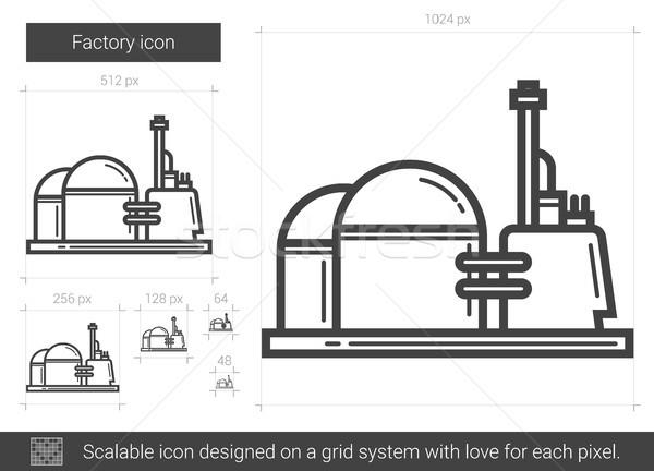 Сток-фото: завода · линия · икона · вектора · изолированный · белый