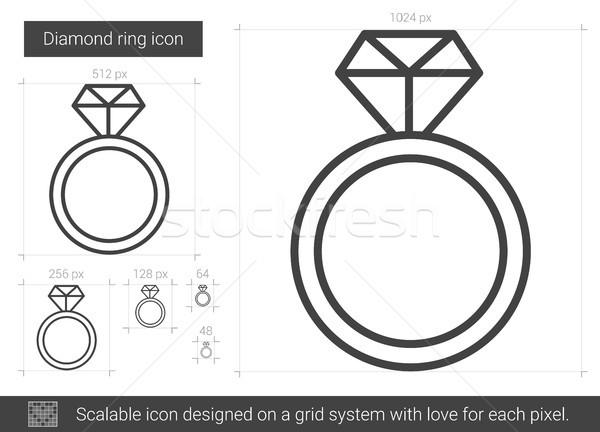 Gyémántgyűrű vonal ikon vektor izolált fehér Stock fotó © RAStudio