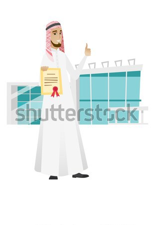 Young muslim business woman holding a certificate. Stock photo © RAStudio