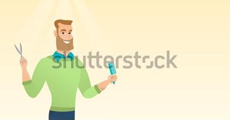 Man smartphone draagbaar batterij jonge kaukasisch Stockfoto © RAStudio
