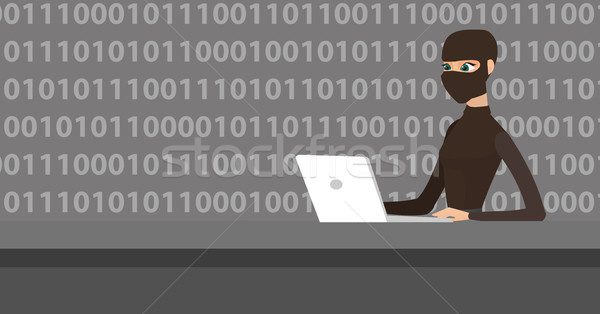 Hacker using laptop to steal information. Stock photo © RAStudio