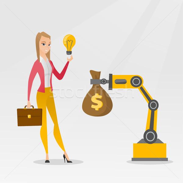 Mujer idea ingeniería robótica mano Foto stock © RAStudio