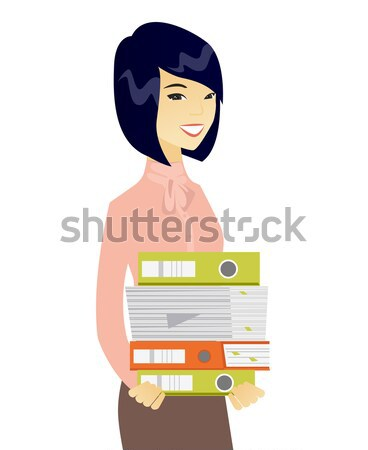 Muslim business woman holding pile of folders. Stock photo © RAStudio
