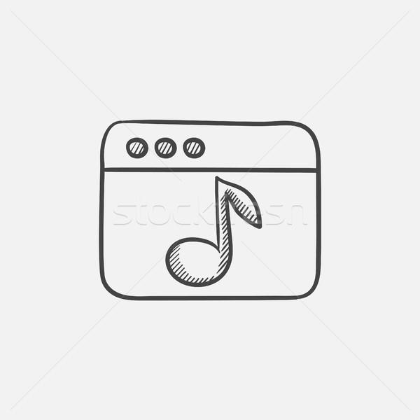 Navegador ventana música nota boceto icono Foto stock © RAStudio