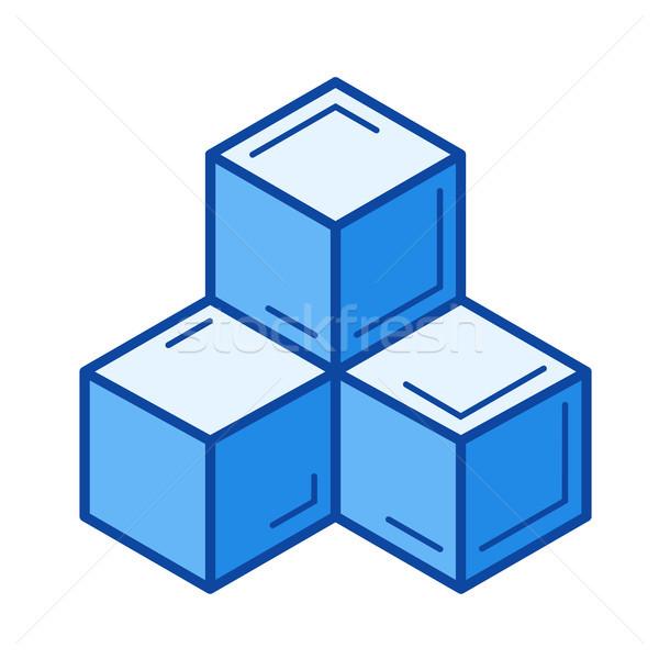 Datenbank line Symbol Vektor isoliert weiß Stock foto © RAStudio