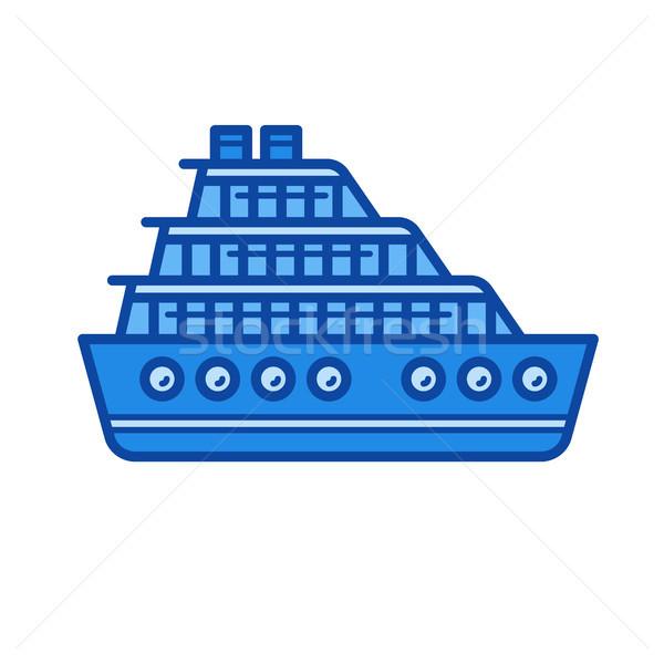 Crucero línea icono vector aislado blanco Foto stock © RAStudio