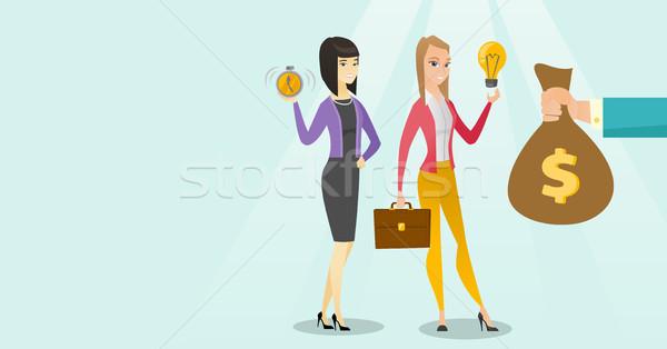 Caucasian white woman exchanging her idea to money Stock photo © RAStudio