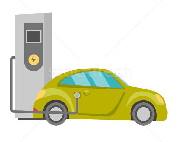 Güç kaynağı elektrikli araba vektör karikatür örnek yalıtılmış Stok fotoğraf © RAStudio