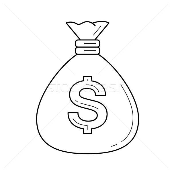 Pénz táska vonal ikon vektor izolált Stock fotó © RAStudio