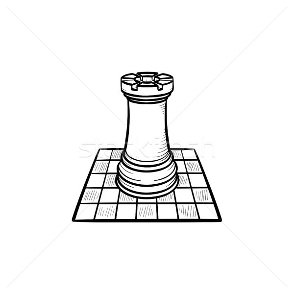 Chess board and figure hand drawn sketch icon. Stock photo © RAStudio